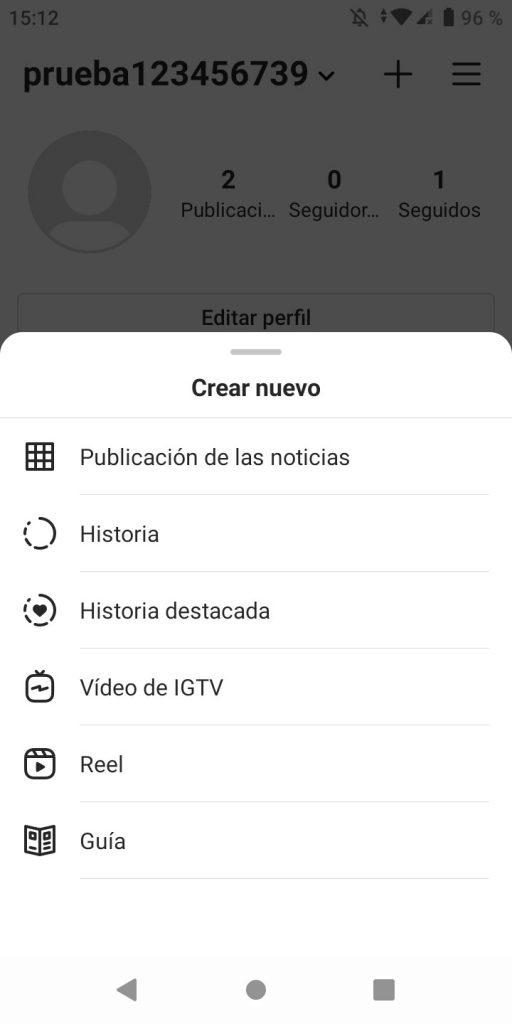 Segundo paso para subir un vídeo a IGTV desde la app de Instagram