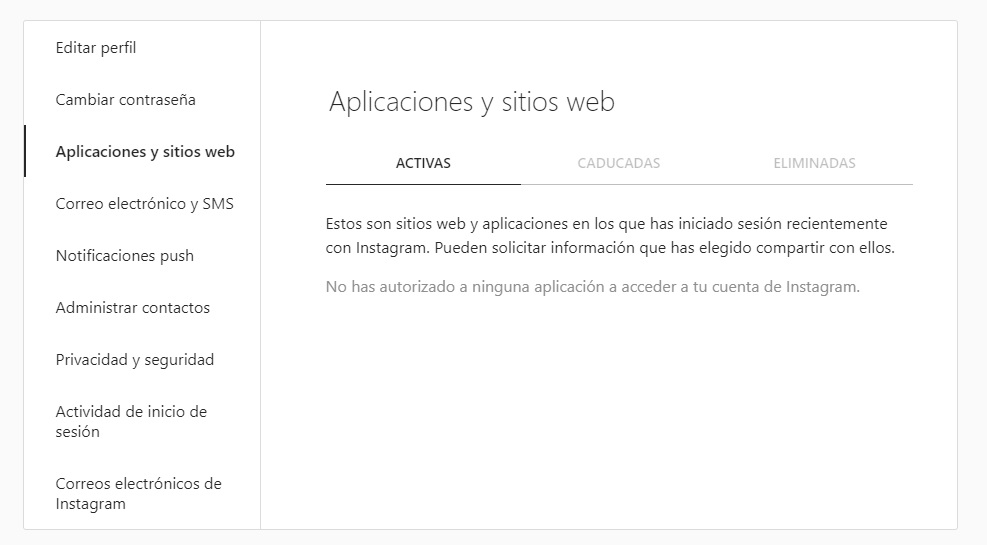 Tercer paso para ver apps conectadas a tu cuenta de Instagram