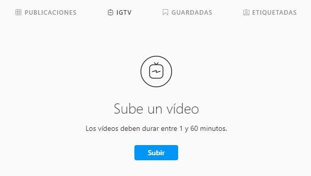 Tercer paso para subir un vídeo a IGTV desde el sitio web