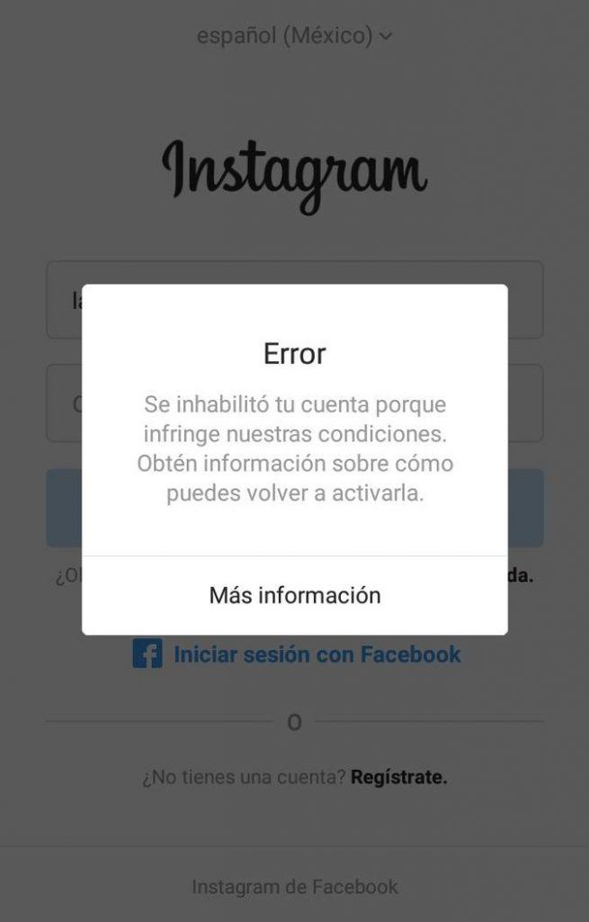 El mensaje User not Found en Instagram también puede deberse a una inhabilitación