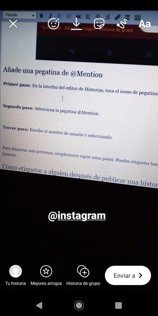 Tercer paso para añadir texto a la Historia de Instagram