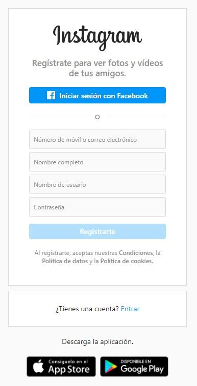 Menú para crear una nueva cuenta en Instagram