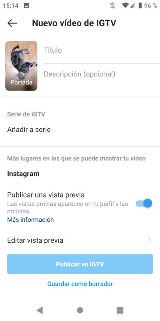 Sexto paso para subir un vídeo a IGTV desde la app de Instagram