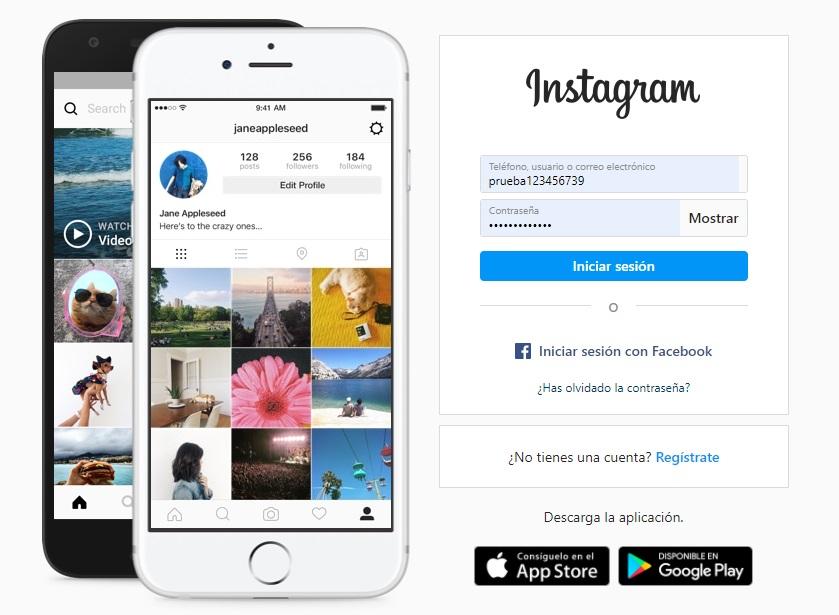 Sitio web de Instagram