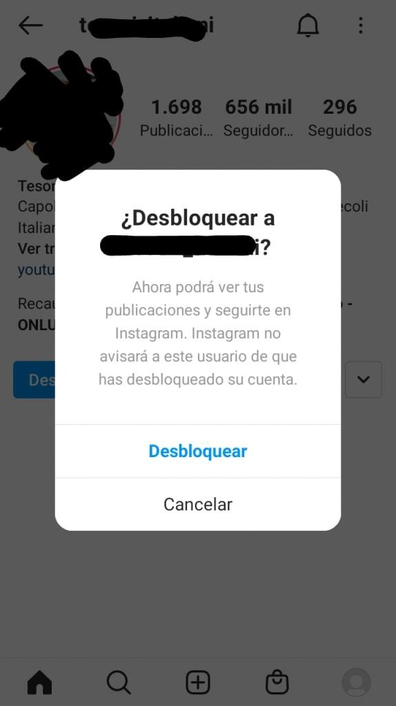 Cómo desbloquear una cuenta en Instagram